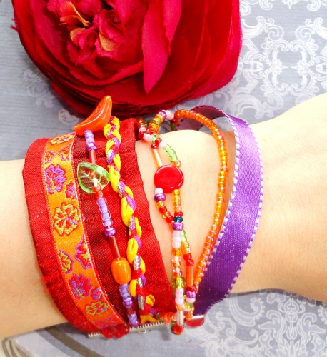 bracelet, multi rangs, créateur, orange, rouge, biais, liberty, hipamema