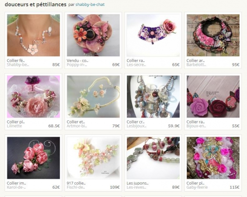 création, collier, fait main, hand made, perles, roses, pastel,